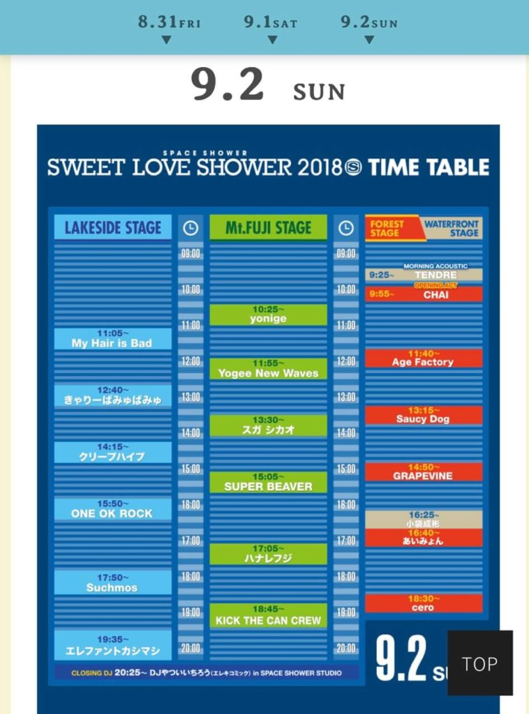 sweet love shower 2018  ラインナップ タイムテーブル写真