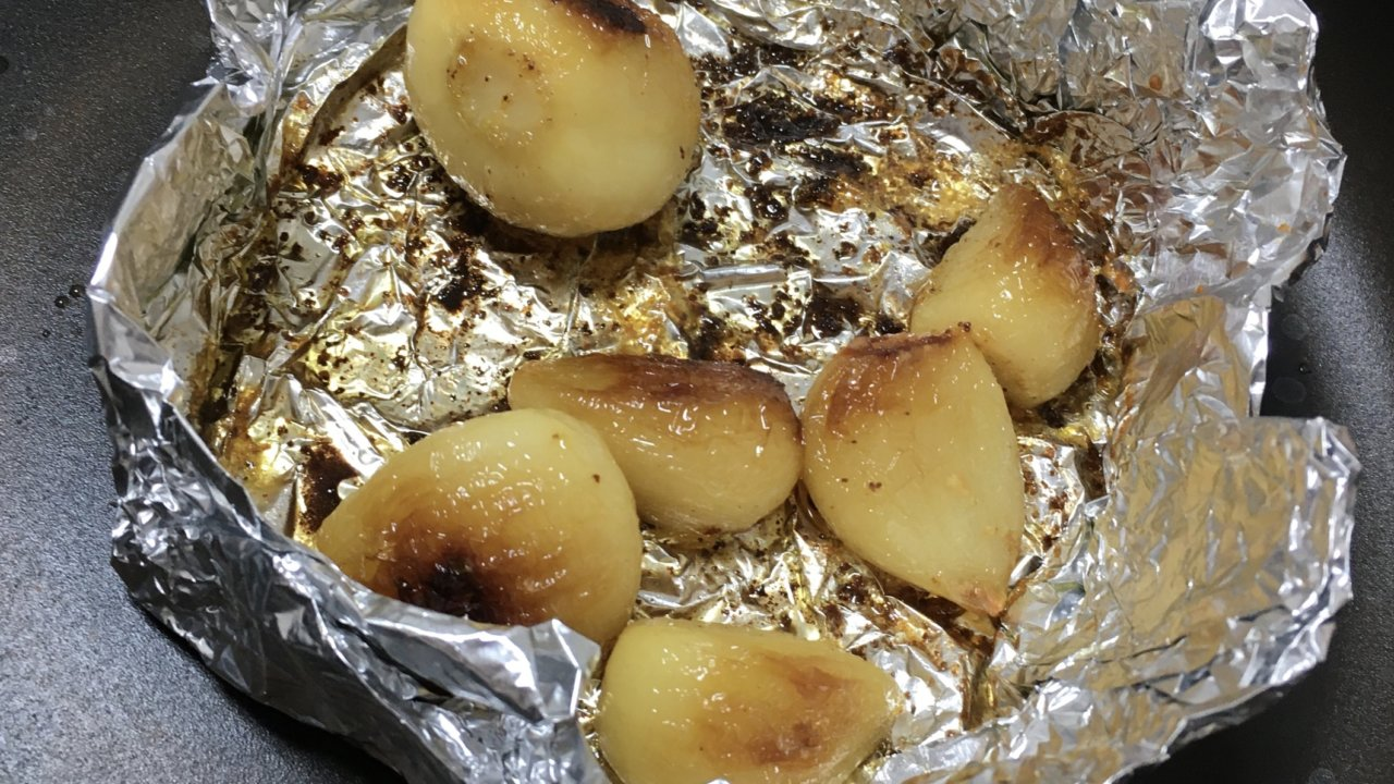 にんにくのホイル焼き フライパンで簡単!